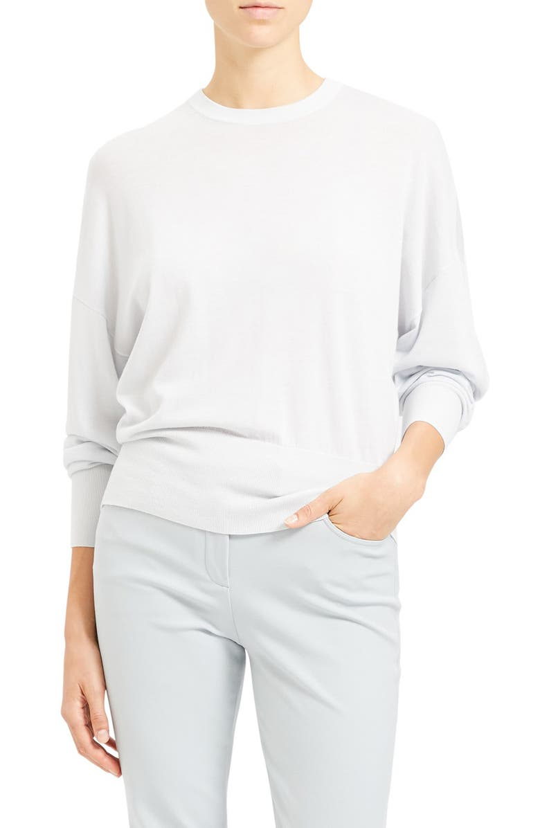 THEORY Blouson Sleeve Wool Blend Pullover, Main, color, MIST BLUE