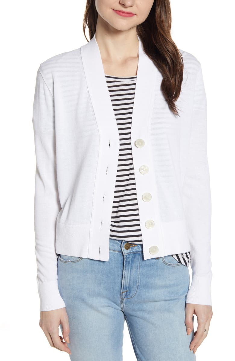 J.CREW Lightweight Crop Cardigan, Main, color, WHITE