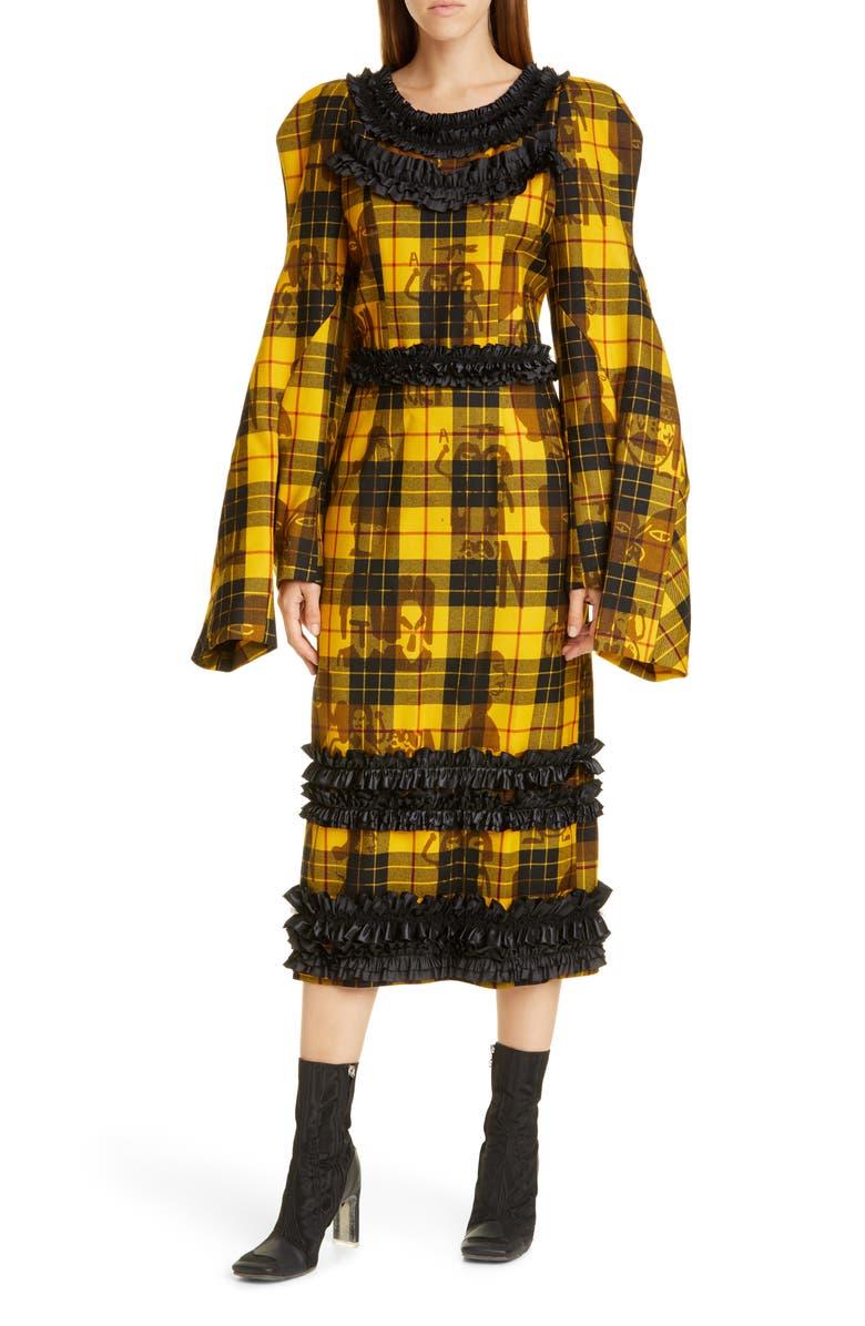 COMME DES GARÇONS Long Sleeve Tartan Wool Midi Dress, Main, color, 700
