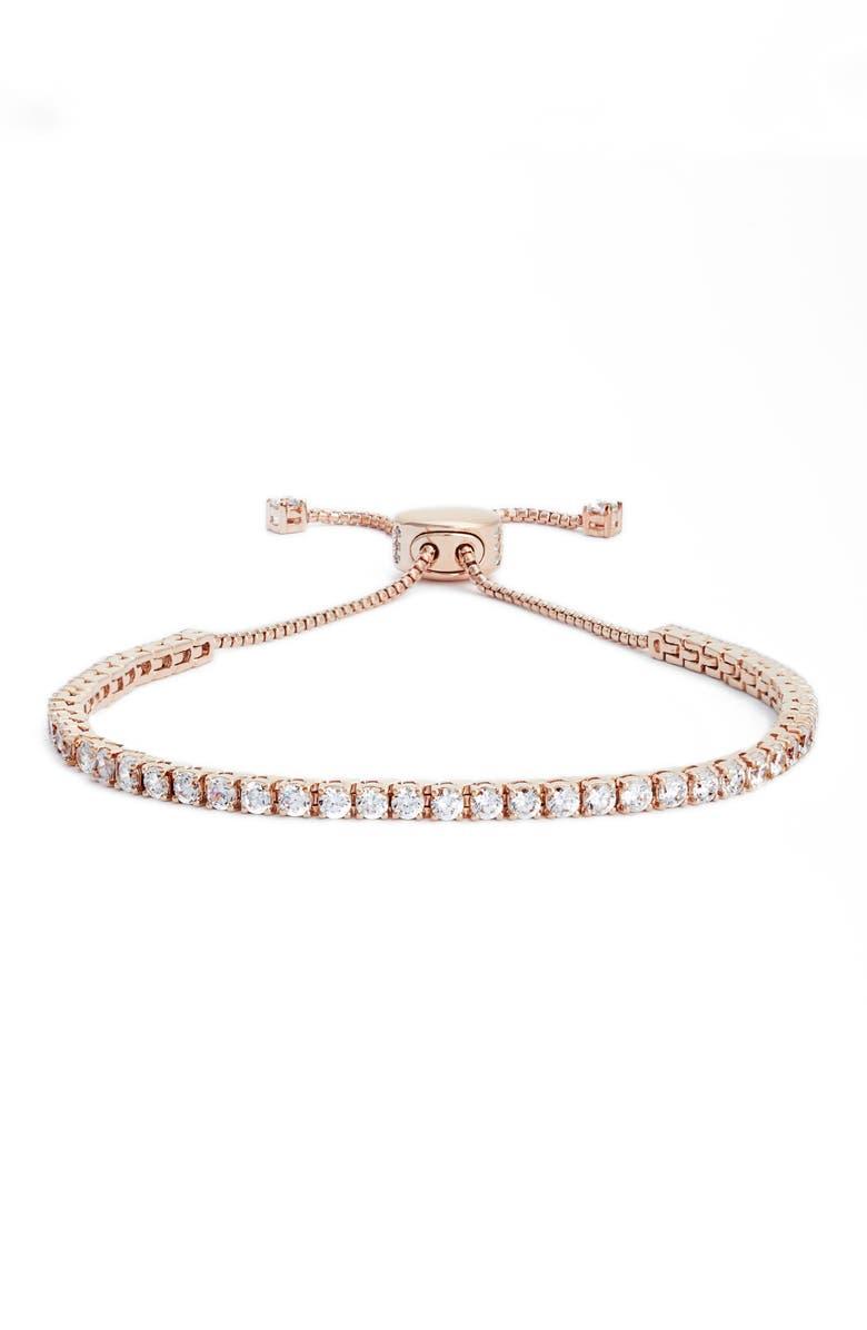 NADRI Cubic Zirconia Tennis Bracelet, Main, color, ROSE GOLD/ CLEAR