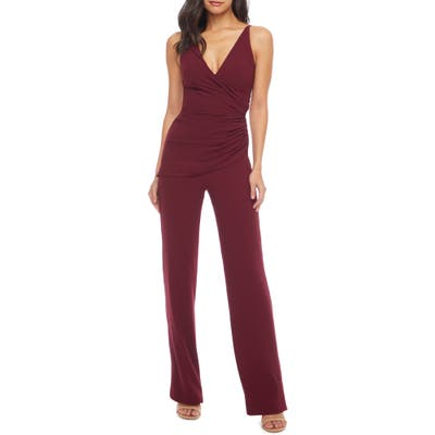 Dress The Population Sam Ruched Jumpsuit, Red