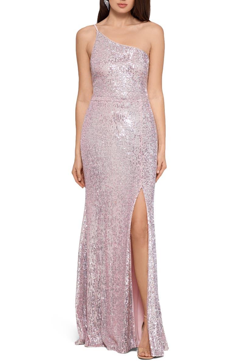 XSCAPE One-Shoulder Sequin Column Gown, Main, color, 040