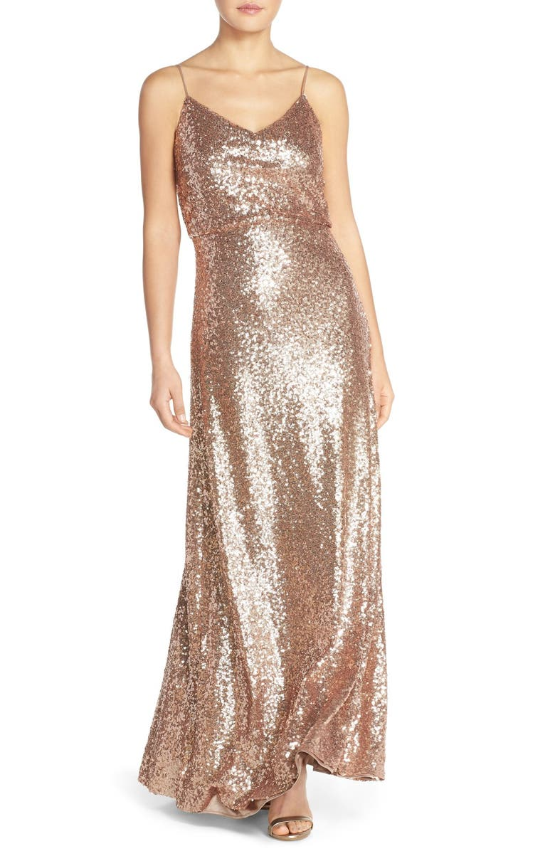 JENNY YOO Jules Sequin Blouson Gown with Detachable Back Cowl, Main, color, 686