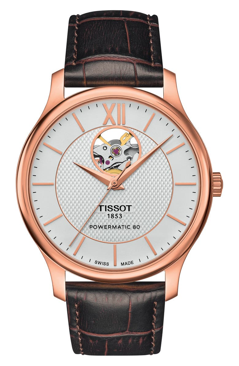 TISSOT Tradition Leather Strap Watch, 40mm, Main, color, BROWN/ ROSE GOLD