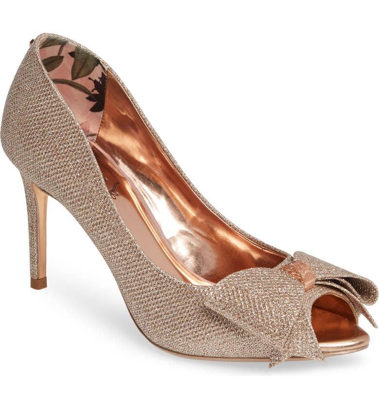 TED BAKER LONDON Nualam Peep Toe Pump, Main, color, ROSE GOLD FABRIC