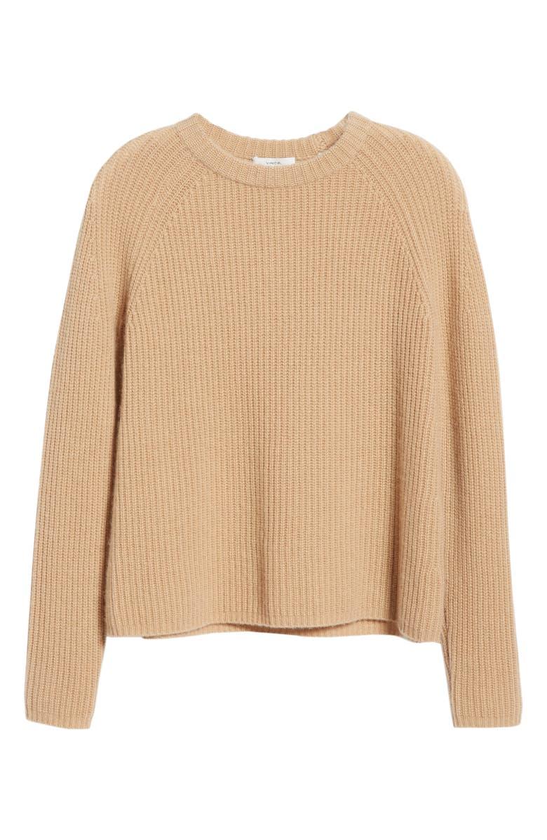 VINCE Shaker Stitch Cashmere Sweater, Alternate, color, HEATHER CAMEL