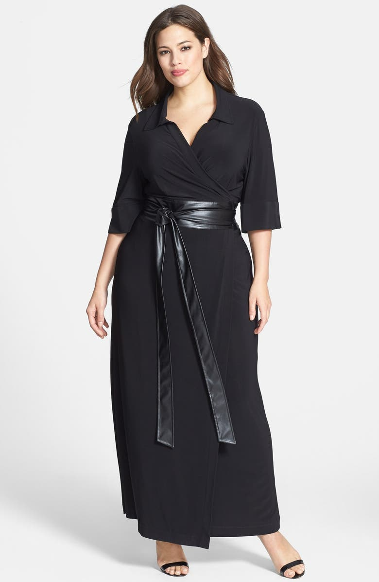 Faux Leather Belted Maxi Wrap Dress