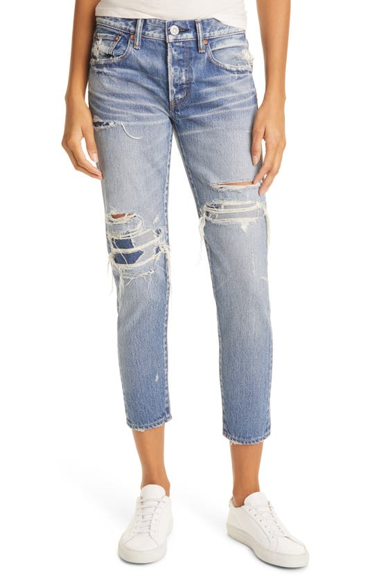 Moussy Louisville Distressed Ankle Skinny Jeans In Distressed Blue
