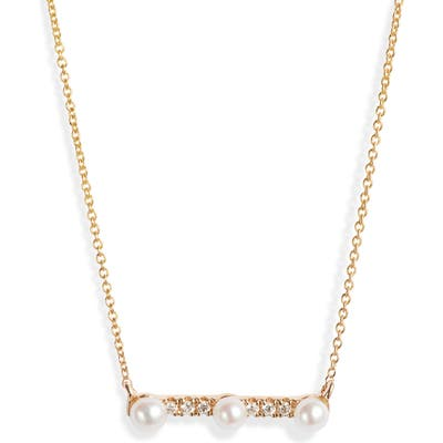 Dana Rebecca Designs Pearl Ivy Diamond & Pearl Bar Pendant Necklace