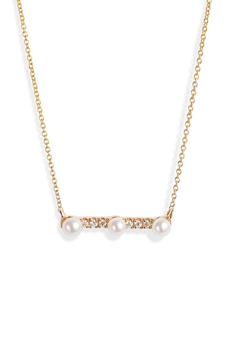 DANA REBECCA DESIGNS Pearl Ivy Diamond & Pearl Bar Pendant Necklace, Main, color, YELLOW GOLD