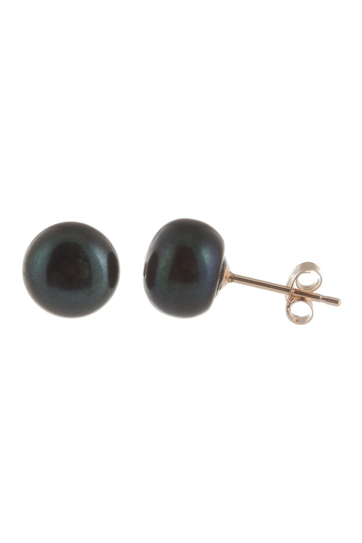 Image of Splendid Pearls 7-7.5mm Black Freshwater Pearl Stud Earrings