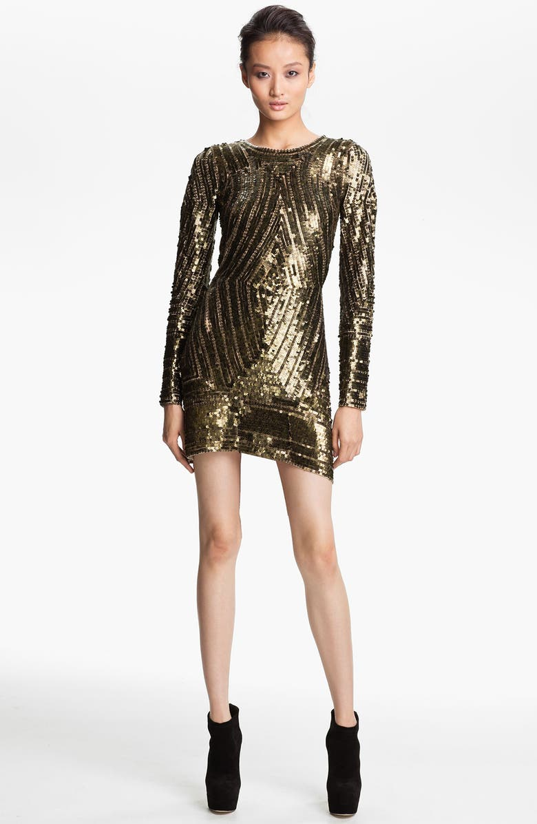 GRYPHON Long Sleeve Sequin Minidress, Main, color, 710