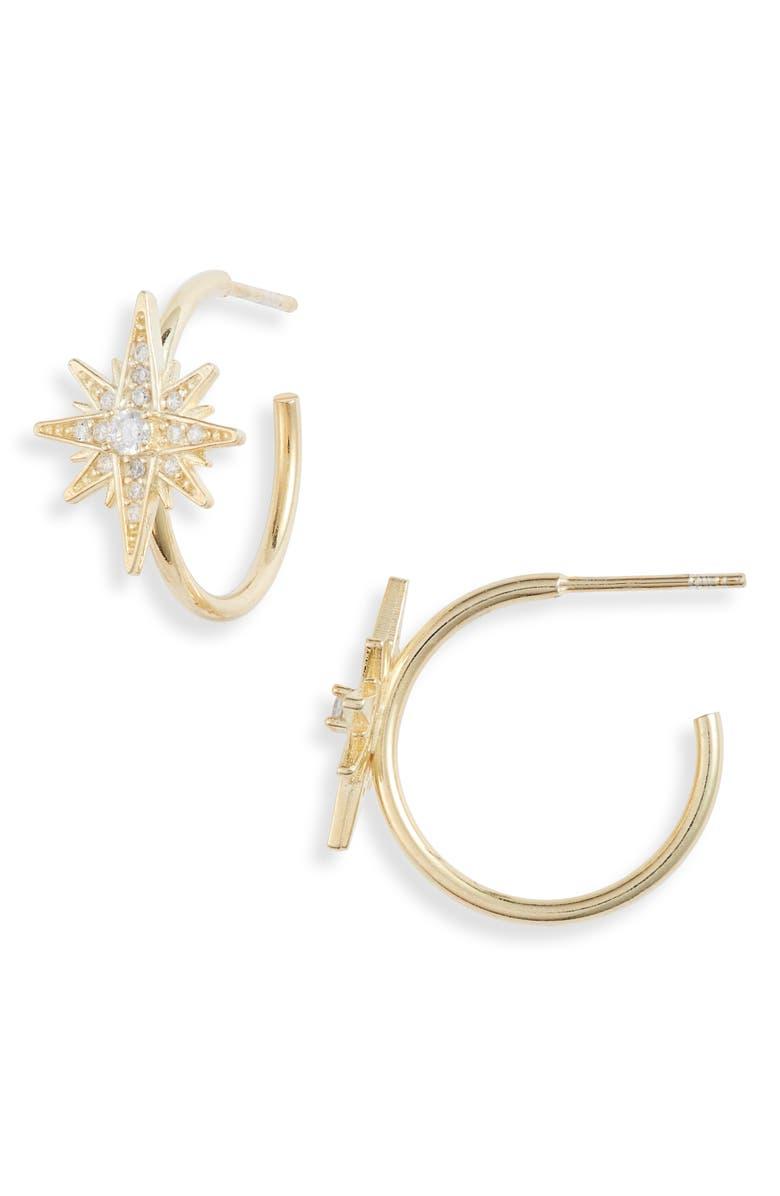 ADINA'S JEWELS Starburst Hoop Earrings, Main, color, 710