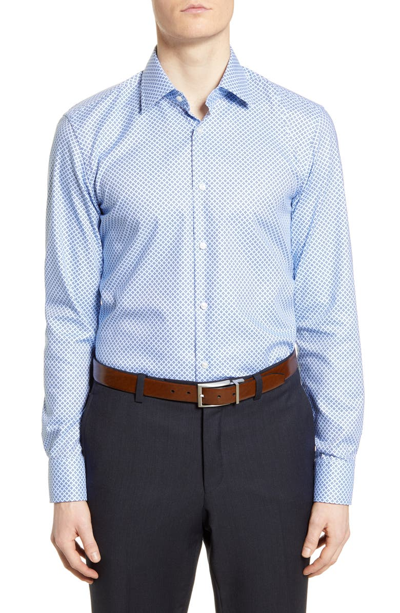 BOSS Slim Fit Geometric Travel Dress Shirt, Main, color, NAVY