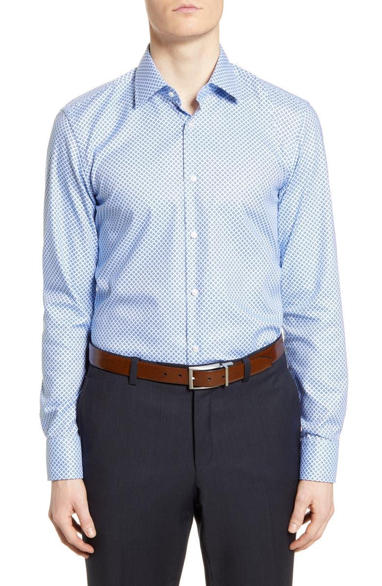 BOSS Slim Fit Geometric Travel Dress Shirt, Main, color, NAVY
