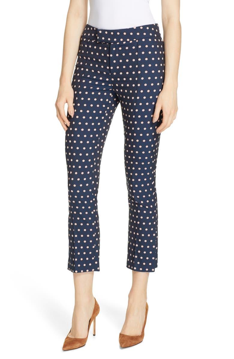 SMYTHE Stovepipe Polka Dot Jacquard Pants, Main, color, NAVY/ BLUSH POLKA DOT