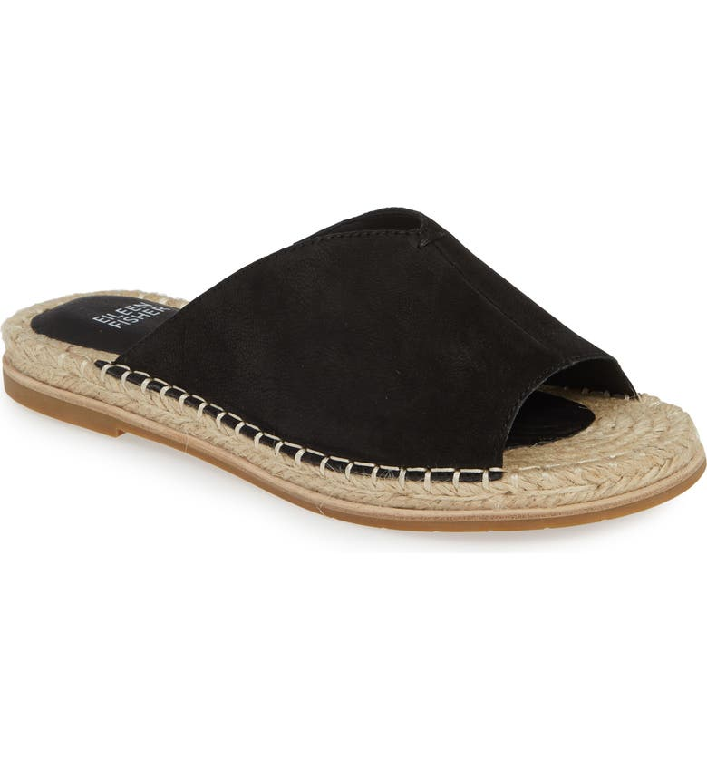 EILEEN FISHER Milly Espadrille Slide Sandal, Main, color, BLACK NUBUCK
