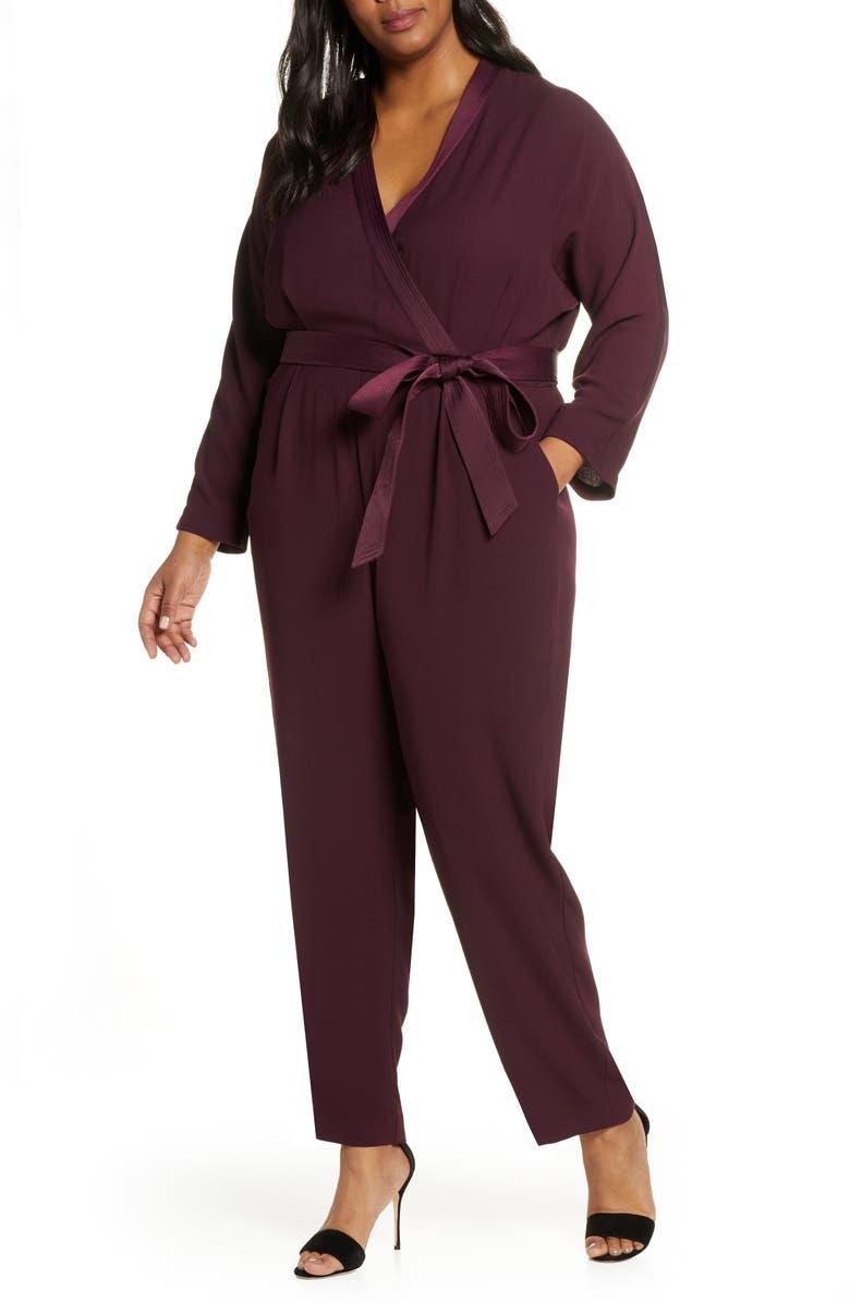 ELIZA J Long Sleeve Wrap Front Jumpsuit, Main, color, PLUM