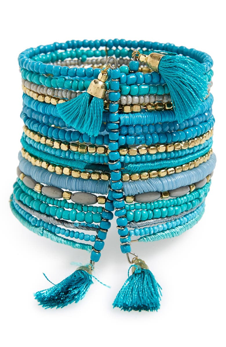BP. Beaded Multi-Strand Tassel Cuff, Main, color, TURQUOISE