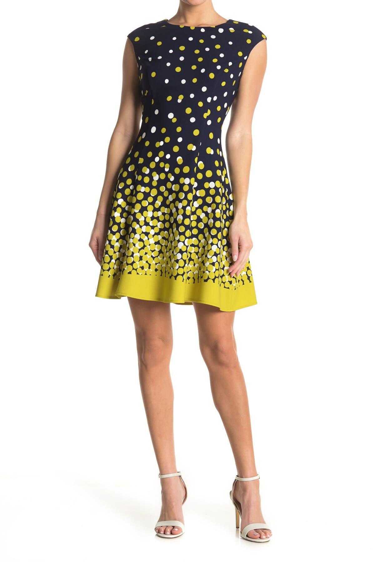 Image of London Times Dot Fit & Flare Scuba Dress