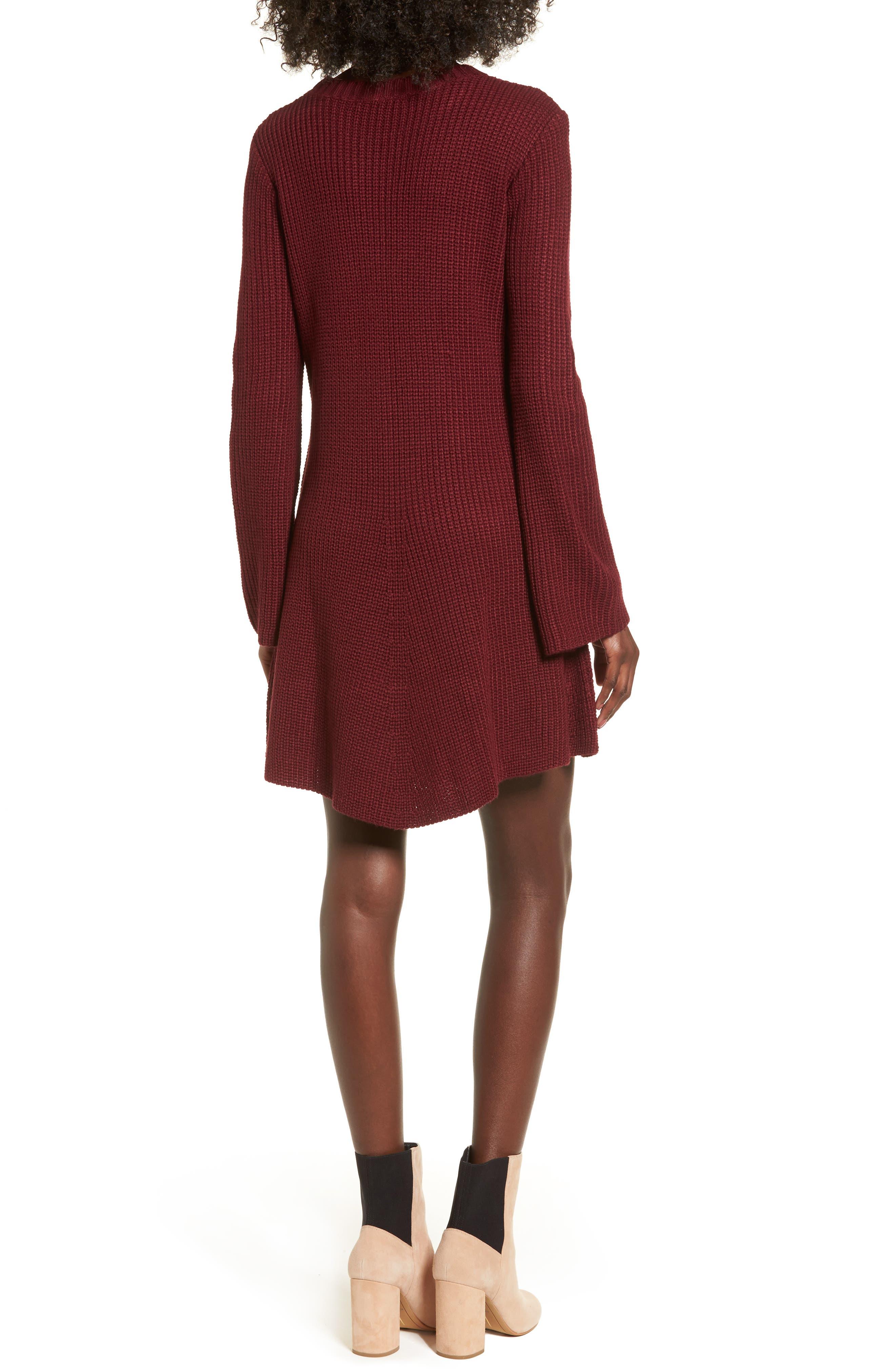,                             Flared Sleeve Sweater Dress,                             Alternate thumbnail 14, color,                             930