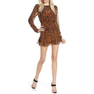 Finders Keepers Lana Snakeskin Print Long Sleeve Minidress, Brown