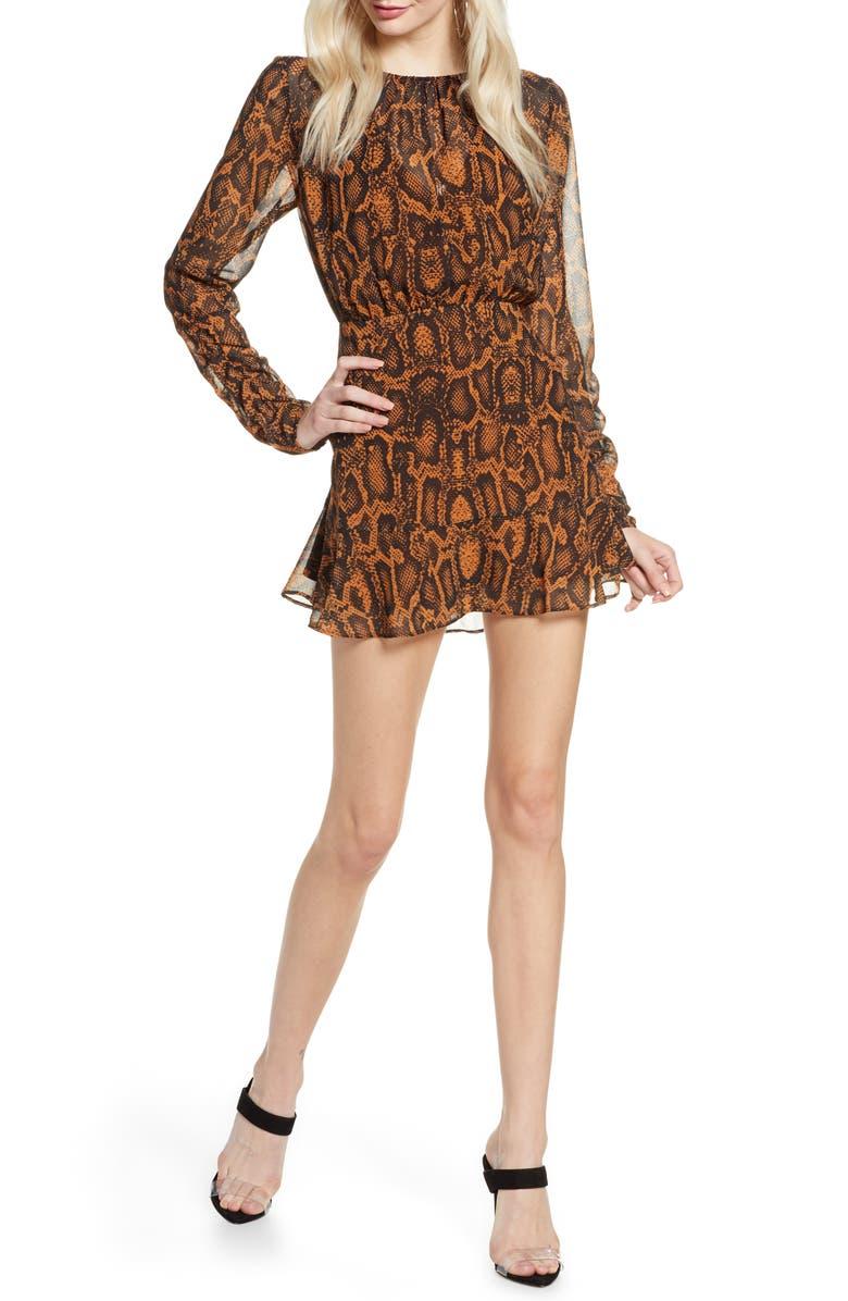 FINDERS KEEPERS Lana Snakeskin Print Long Sleeve Minidress, Main, color, TAN SNAKE