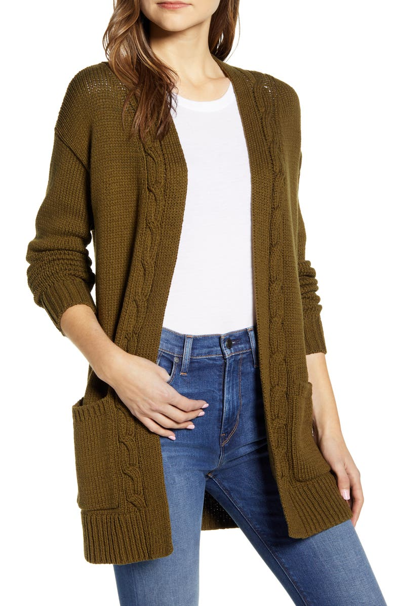 LUCKY BRAND Cable Accent Cotton Blend Cardigan, Main, color, 330
