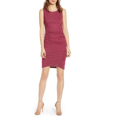 Leith Ruched Body-Con Tank Dress, Burgundy