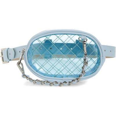 Steve Madden Diamond Quilted Clear Belt Bag - Blue