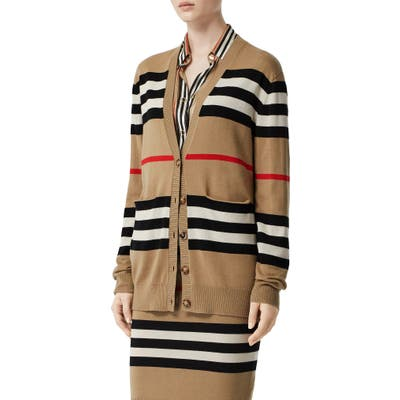 Burberry Scioto Icon Stripe Merino Wool Cardigan, Beige