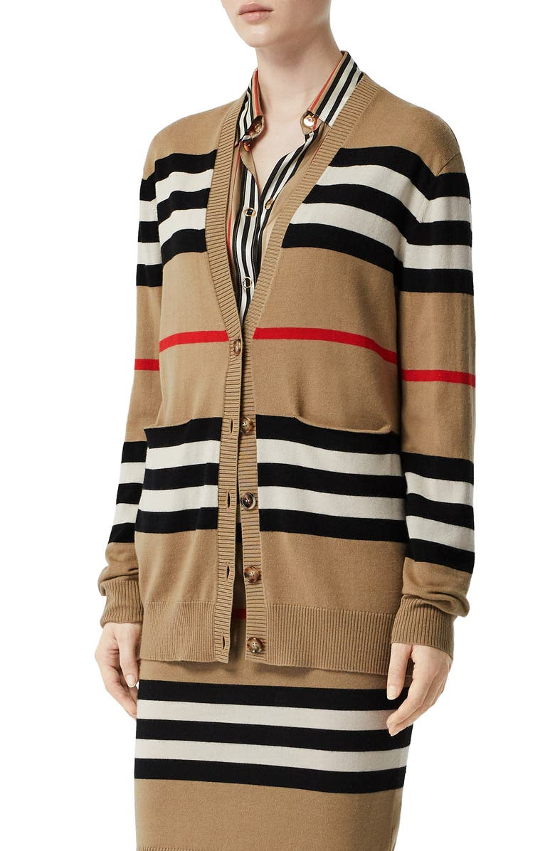 BURBERRY Scioto Icon Stripe Merino Wool Cardigan, Main, color, ARCHIVE BEIGE
