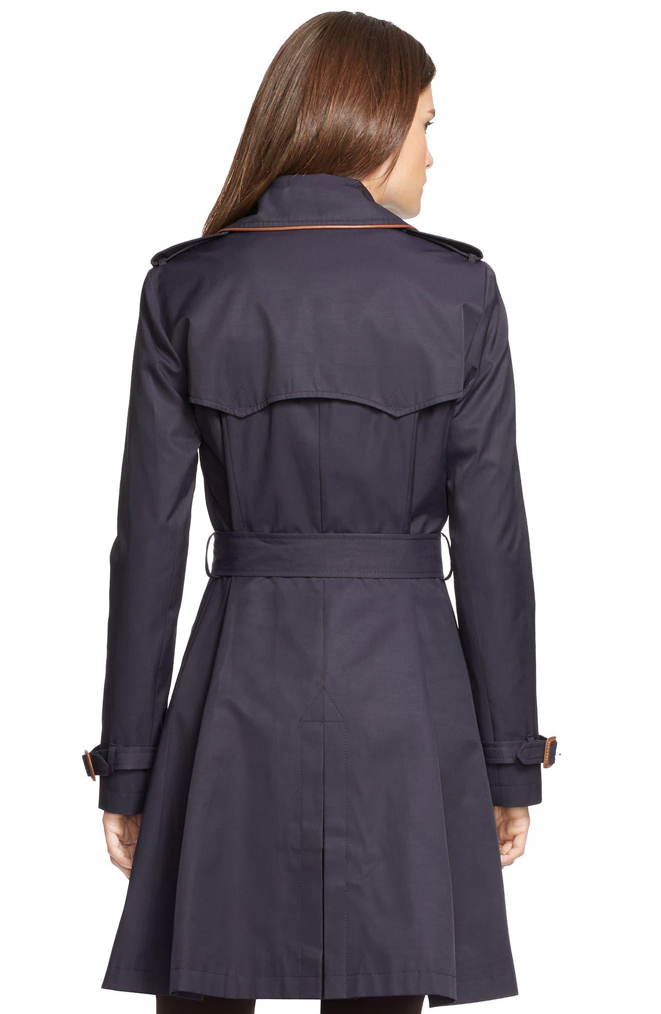 ,                             Faux Leather Trim Trench Coat,                             Alternate thumbnail 38, color,                             412