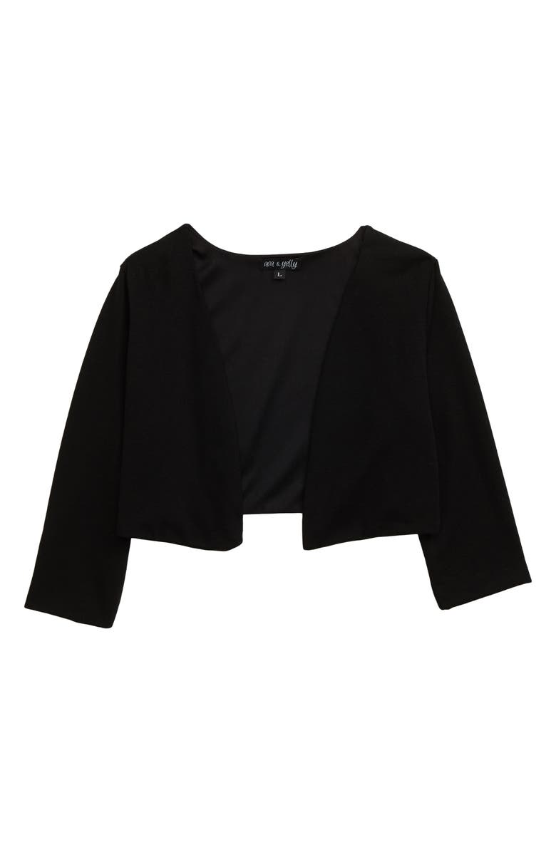 AVA & YELLY Crop Cardigan, Main, color, BLACK