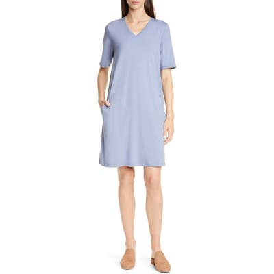 Petite Eileen Fisher Stretch Cotton A-Line Dress, Blue