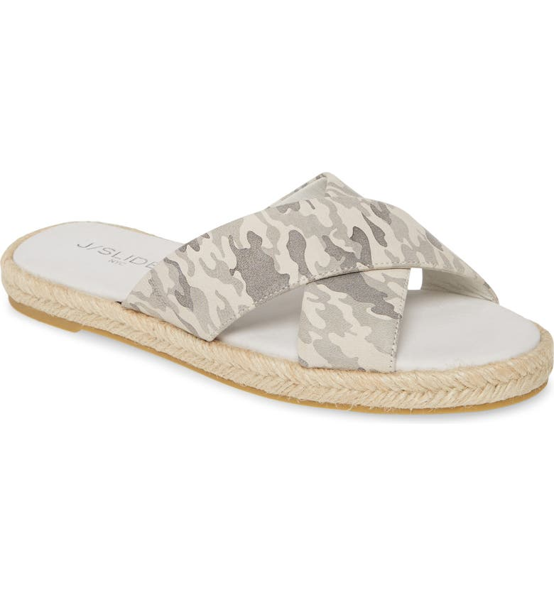 JSLIDES Reva Slide Sandal, Main, color, OFF WHITE CAMO LEATHER
