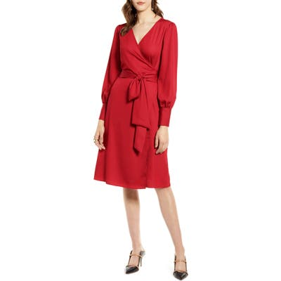Halogen Long Sleeve Wrap Dress, Red