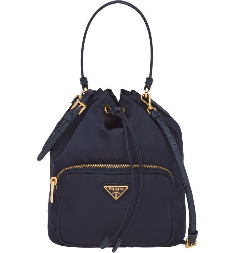 PRADA Vela Bucket Bag, Main, color, 400
