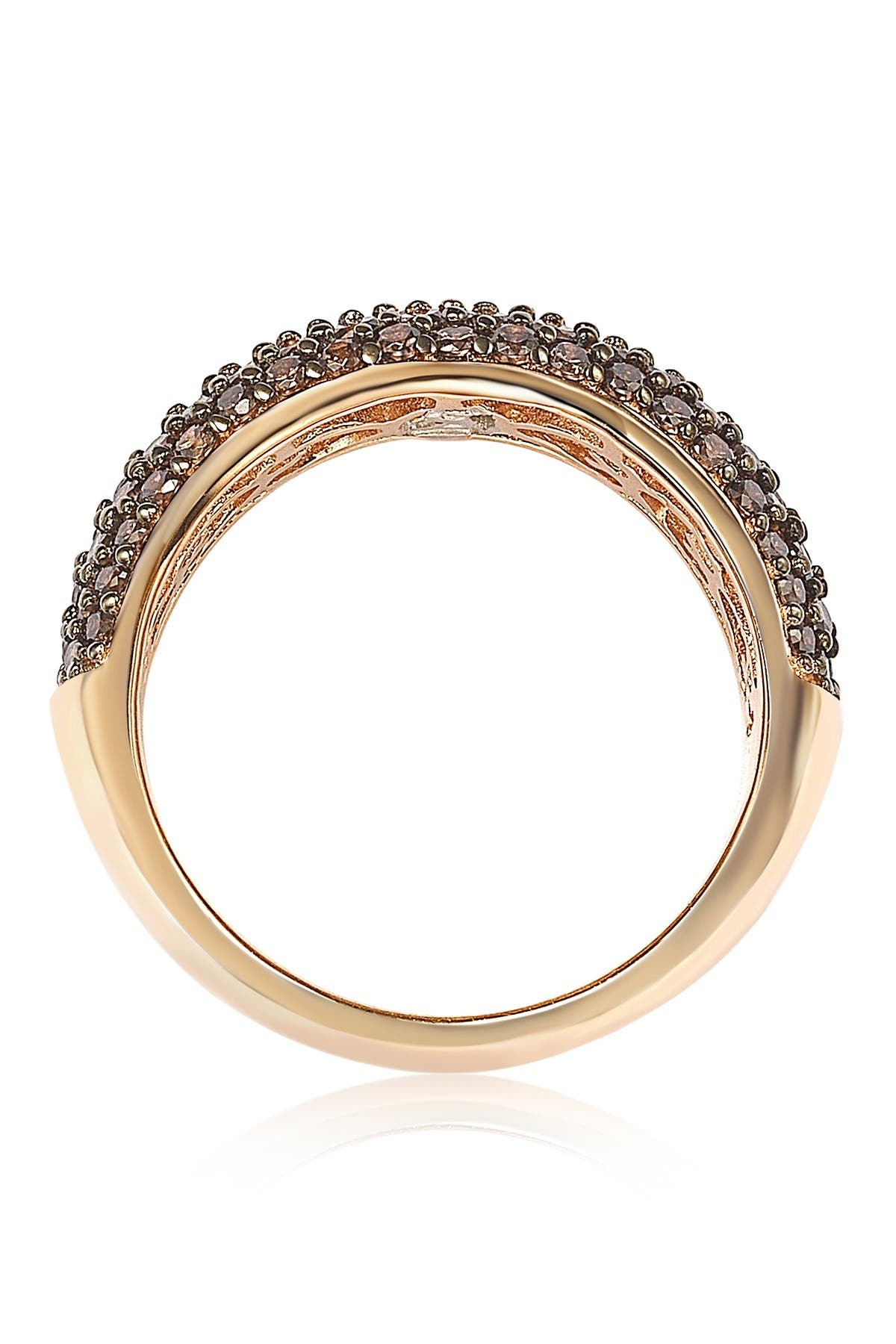Image of Suzy Levian Rose-Tone Sterling Silver Pave Chocolate CZ Eternity Band Ring