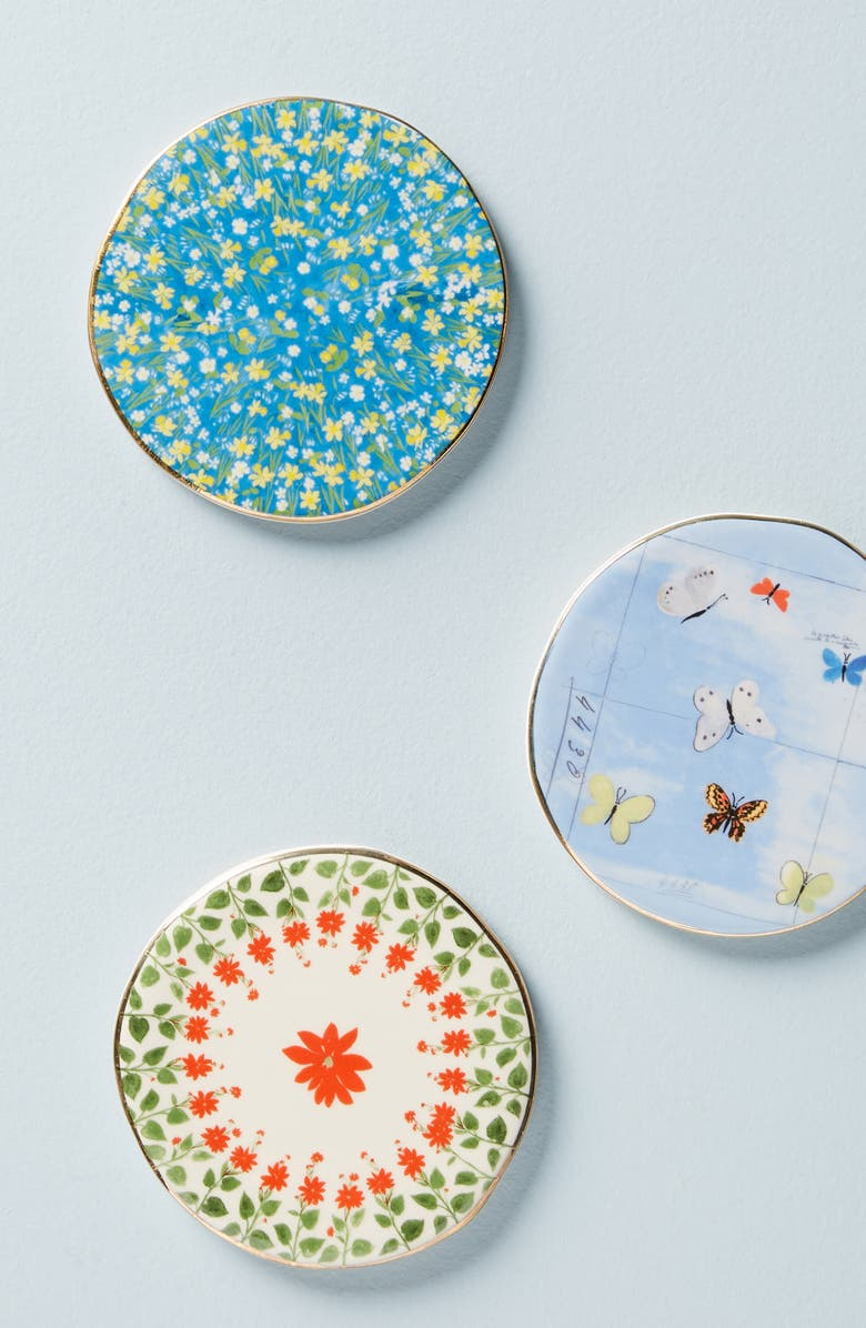 ANTHROPOLOGIE Paule Marrot Coaster, Main, color, BUTTERFLIES