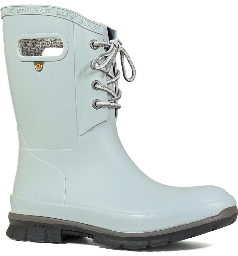 BOGS Amanda Plush Waterproof Rain Boot, Main, color, JADE RUBBER