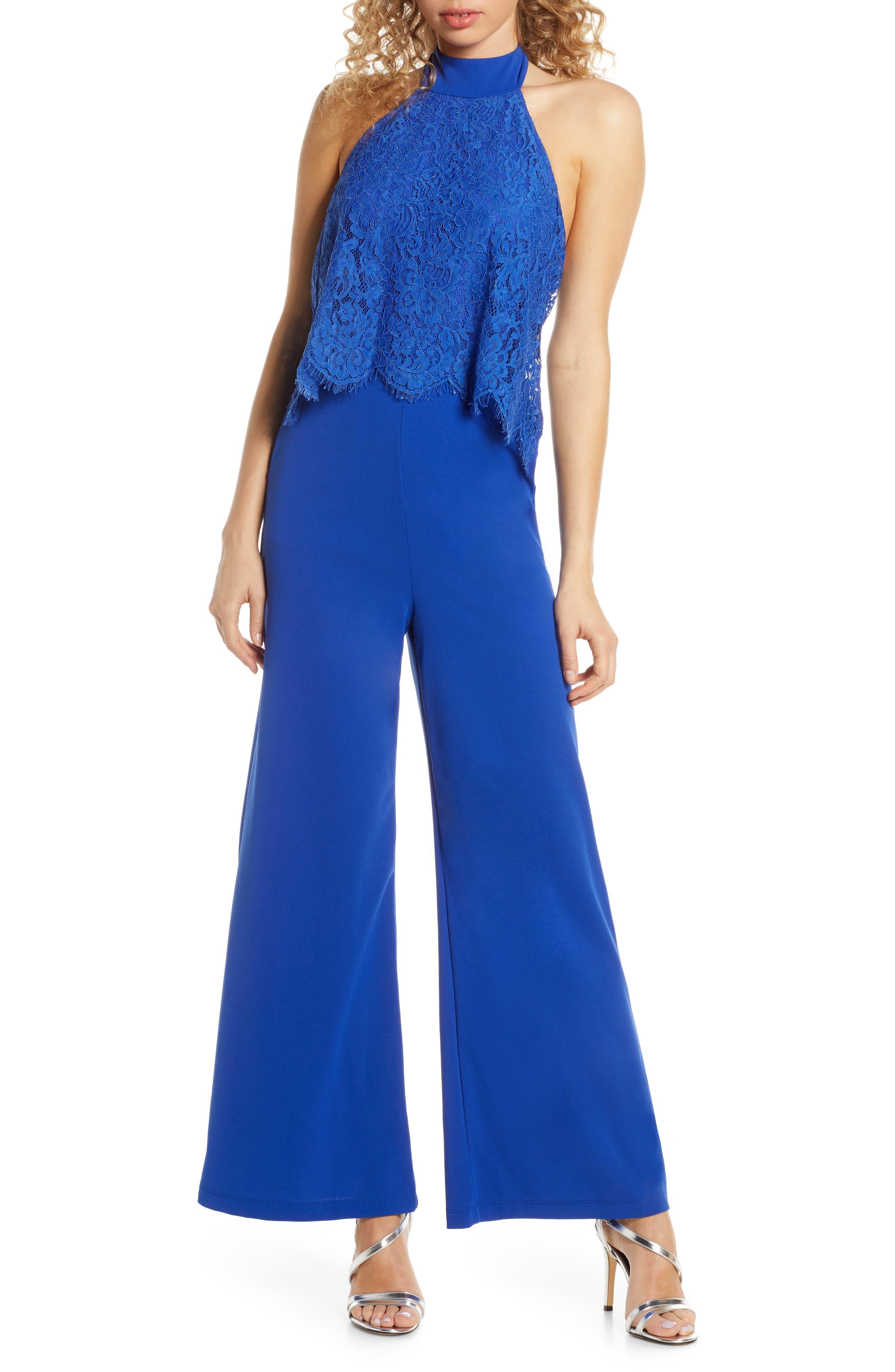 Lulus Lace Popover Wide Leg Jumpsuit, Blue