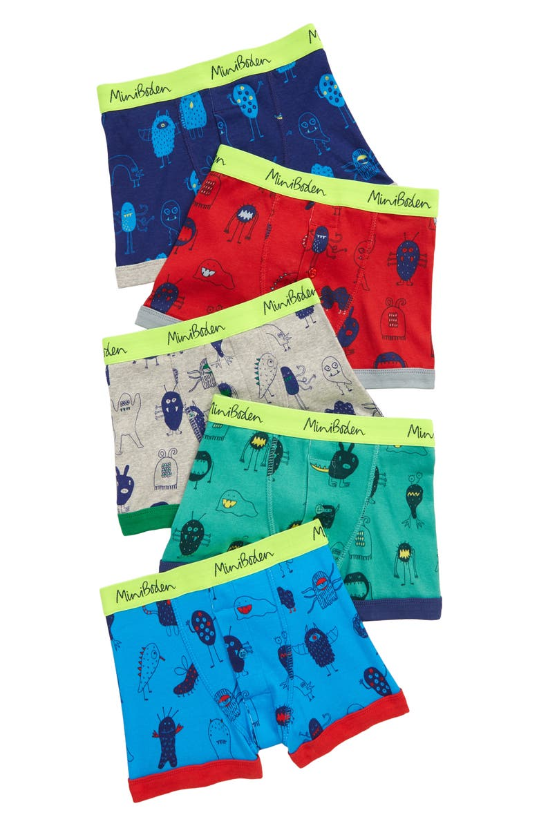 MINI BODEN 5-Pack Boxer Briefs, Main, color, GREEN MONSTERS
