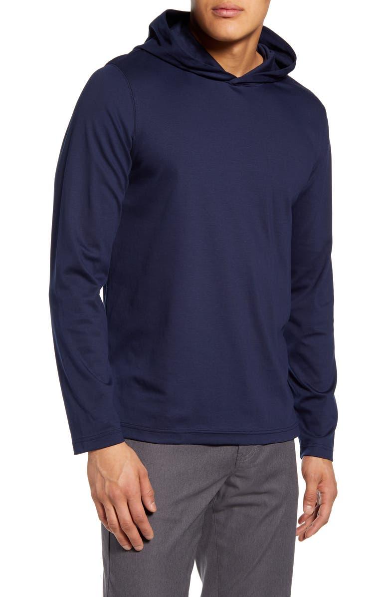 NORDSTROM MEN'S SHOP Cotton Hooded Sweatshirt, Main, color, NAVY BLAZER