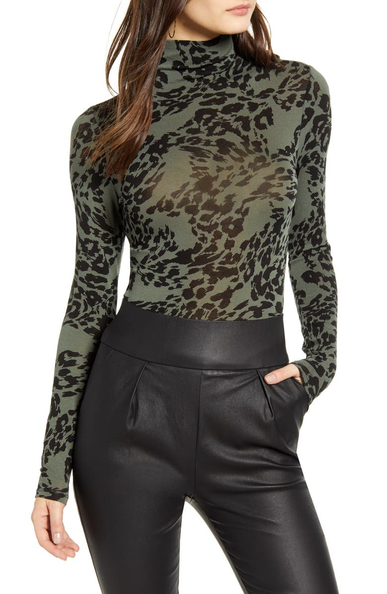 LEITH Lightweight Long Sleeve Funnel Neck Top, Main, color, GREEN THYME ANIMAL SPLASH
