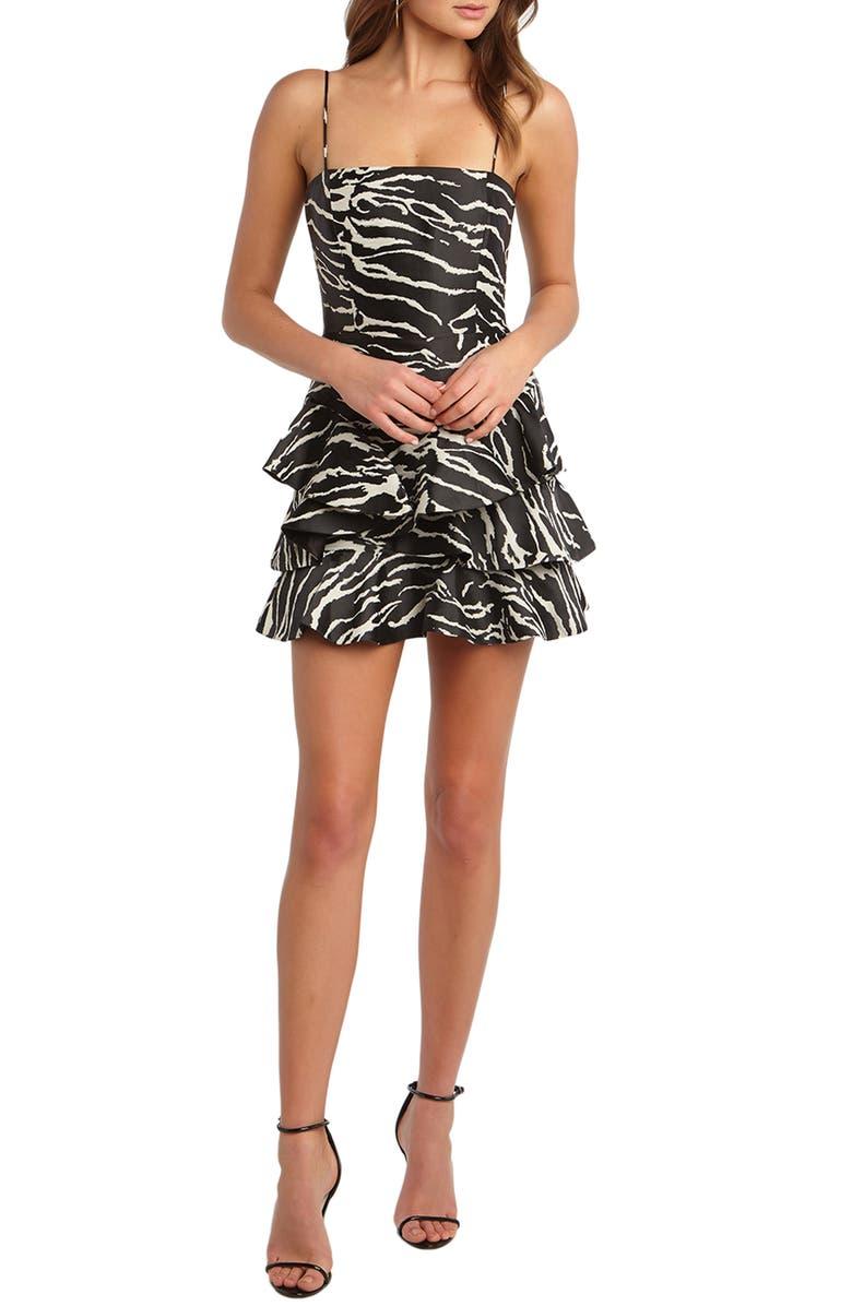 BARDOT Zebra Frill Minidress, Main, color, ZEBRA