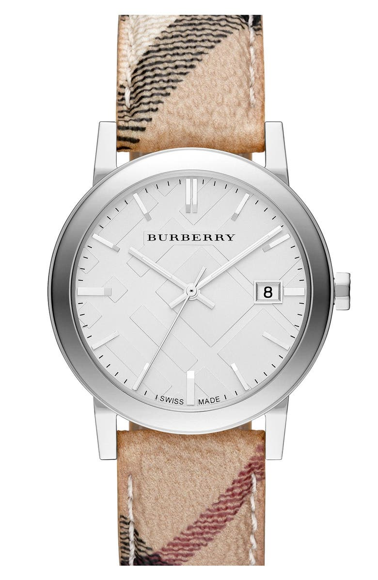BURBERRY Large Check Strap Watch, 38mm, Main, color, 250