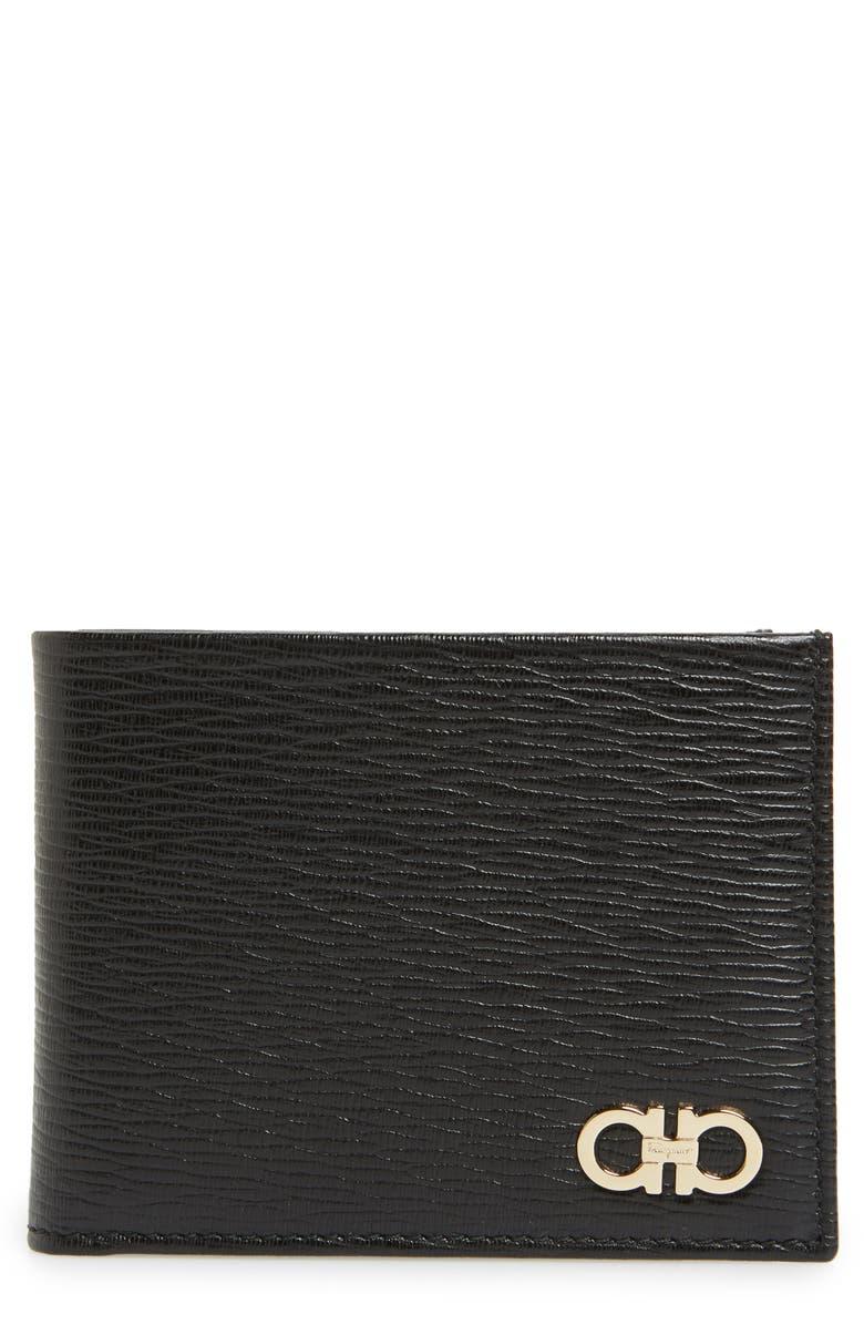 SALVATORE FERRAGAMO Revival Leather Wallet, Main, color, BLACK