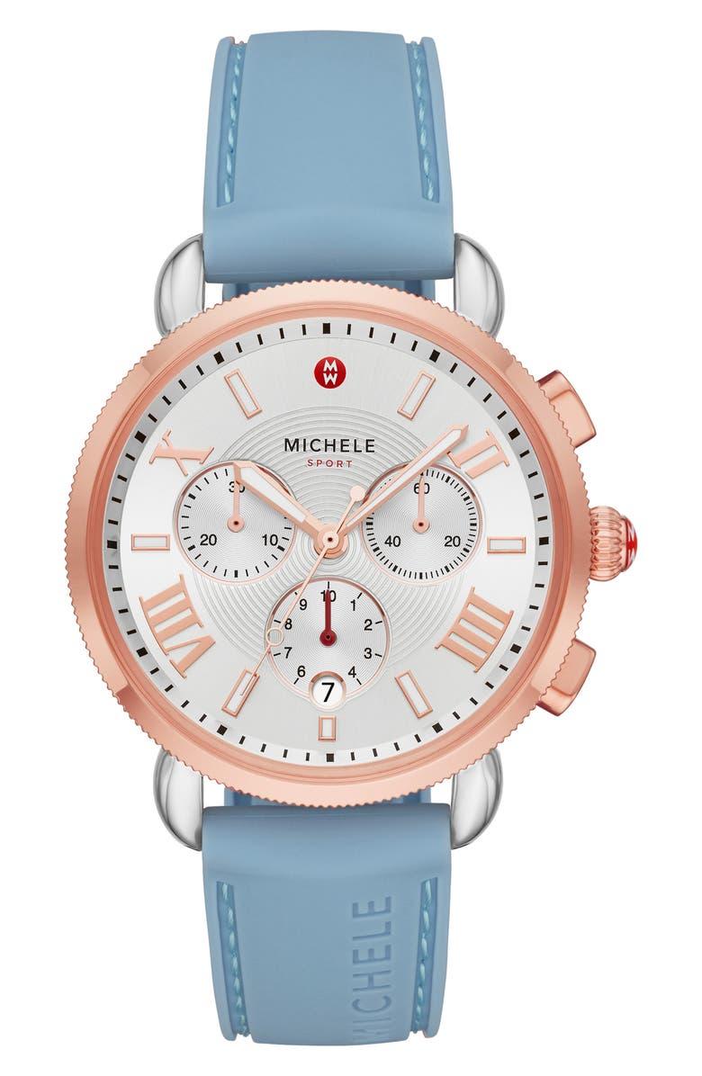 MICHELE Sport Sail Chronograph Watch Head with Silicone Strap, 38mm, Main, color, BLUE/SILV WHT SUNRAY/RSGLD