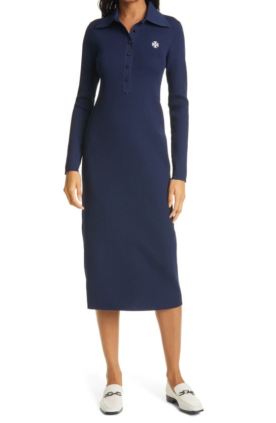 Tory Burch Dresses RIBBED LONG SLEEVE POLO DRESS